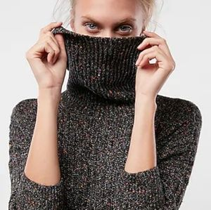 Express Gray Speckled Cowl Neck Knit Sweater